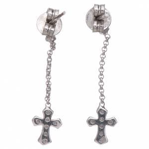 Anhänger, Kreuze, Broschen: Ohrringe AMEN mit Kreuz Anhänger Silber 925 und Zirkonen