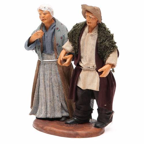 Old Couple holding hands 12cm neapolitan Nativity s2
