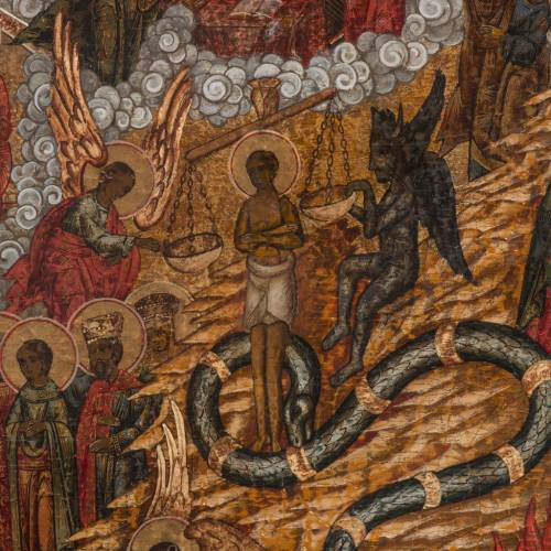 Old Russian Icon Last Judgment, 19th century s4