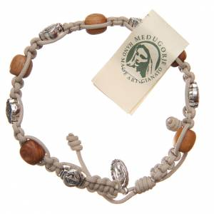 Olive wood bracelet Saint Benedict cross, white rope s1