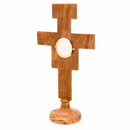 Olive wood monstrance Saint Damian cross shaped s3