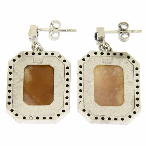 Orecchini argento 925 con zirconi neri e cammeo s2