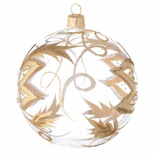 Ornement Noël boule verre fleurs or 100 mm s2