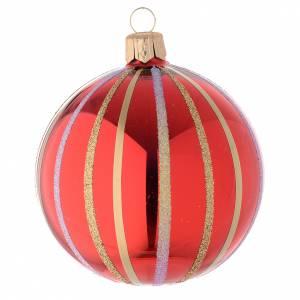 Ornement Noël boule verre rouge/or 80 mm s2