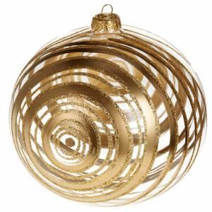 Ornement sapin en verre spirales or 15 cm s1