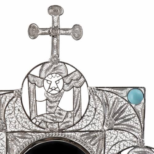 Relicario con cruz, filigrana plata 800 s7