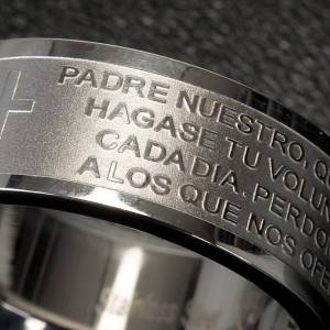 Prayer rings: Our Father prayer ring in Spanish - stainless steel LUX