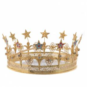 Our Lad crown golden brass filigree s1