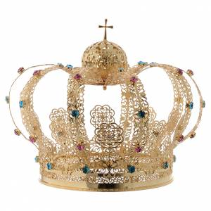 Crowns and halos for religious statues: Our Lady crown golden brass - colored strass