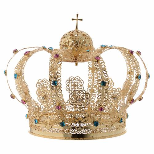 Our Lady crown golden brass - colored strass s1
