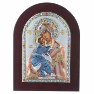 Sacred gilded icons: Our Lady of Vladimir icon in silver, silkscreen printing