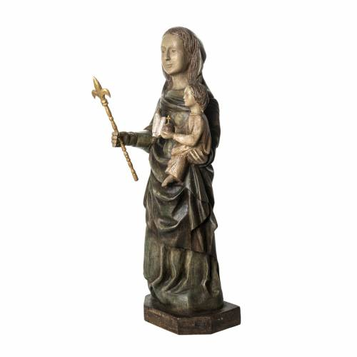 Our Lady of Voirons statue in painted wood 100 cm, Bethleem s3