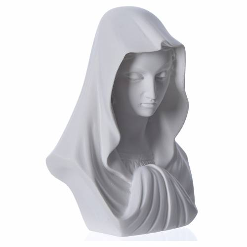 Our Lady, reconstituted carrara marble bust, 16 cm s2