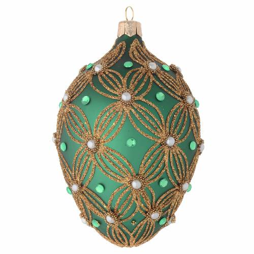 Oval Christmas bauble in green blown glass with gold decoration 130mm s1