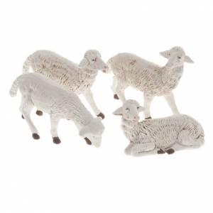 Animales para el pesebre: Ovejas belén plástico surtidos 4 pz. 16 cm.