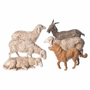 Ovejas, cabra y perro 6 figuras 13 cm Moranduzzo s1