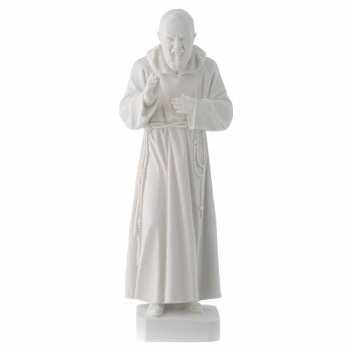 Padre Pio 30 cm polvere di marmo bianco s1