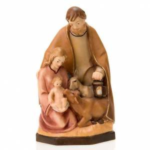Nativity scene from Val Gardena: Painted wood nativity with ox and donkey