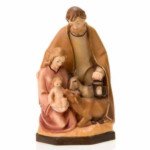 Painted wood nativity with ox and donkey s3