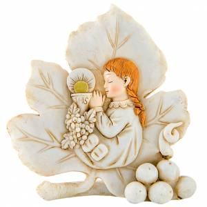 Bonbonnière: Painting Girl First Communion leaf shaped 11cm