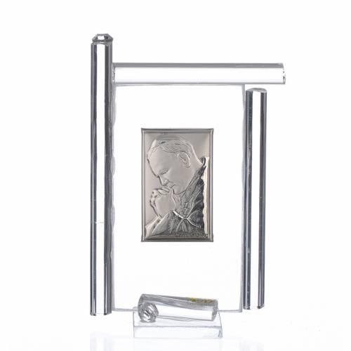 Painting John Paul II silver and Murano Glass, White 9cm s1