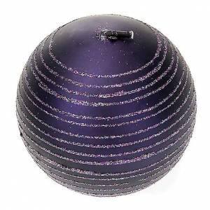 Weihnachtskerzen: Paket 4 viola Kerzen Glitter