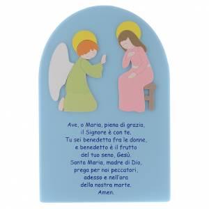 Bassorilievi vari: Pala Annunciazione legno azzurro tenue 25x15 cm Ave Maria ITA