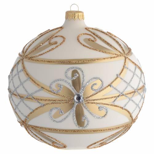 Palla addobbo Natale Panna oro fiori argento 150 mm s1