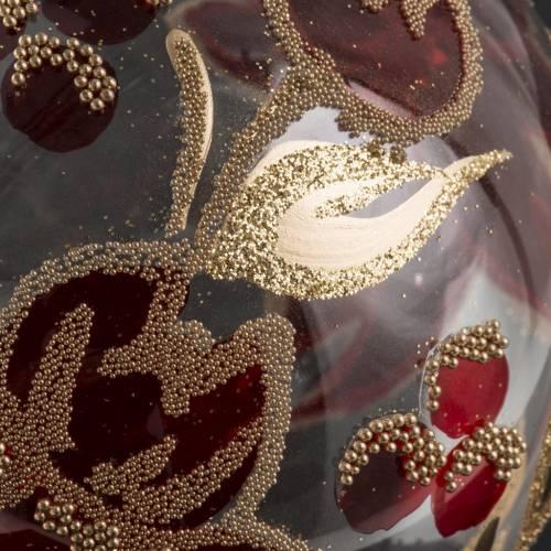 Palla albero Natale vetro trasparente fiore rosso 10 cm s3