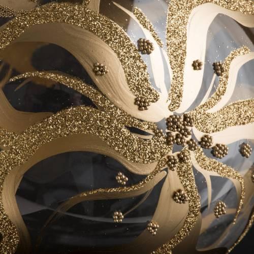Palla Natale per albero vetro decori fiori 15 cm s4