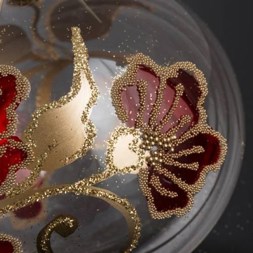 Palla Natale per albero vetro trasparente rosso oro 8 cm s3