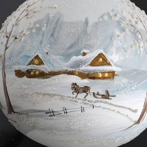 Palla Natale per l'albero vetro paesaggio con neve 10 cm s4