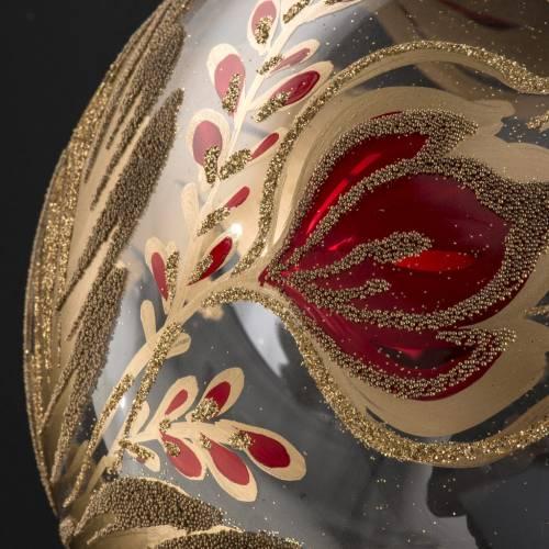 Palla Natale vetro soffiato trasparente fiore rosso oro 15 cm s4