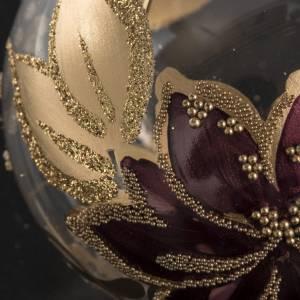 Palla Natale vetro trasparente con fiore fucsia oro 6 cm s3