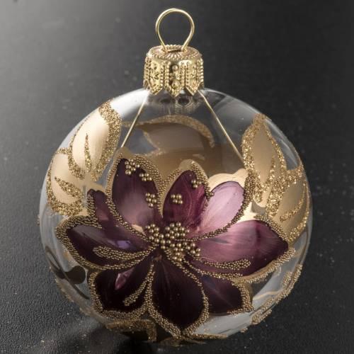 Palla Natale vetro trasparente con fiore fucsia oro 6 cm s2