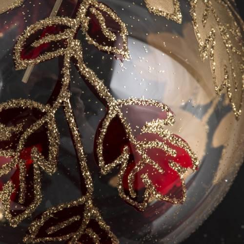 Palla Natale vetro trasparente decori rossi oro 8 cm s3
