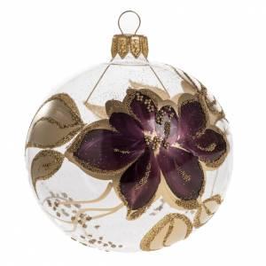 Pallina albero Natale trasparente decori oro viola 8cm s1