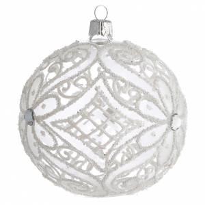 Pallina di Natale bianco opaco e trasparente 100 mm s2