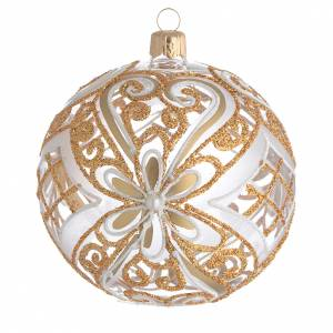 Palline di Natale: Pallina di Natale oro e bianco trasparente 100 mm