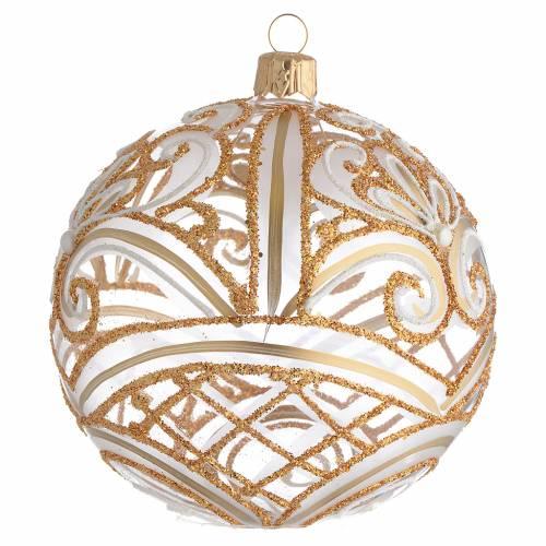 Pallina di Natale trasparente oro 100 mm s2