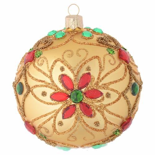 Pallina Natale in vetro soffiato decoro floreale oro e rosso 100 mm s1