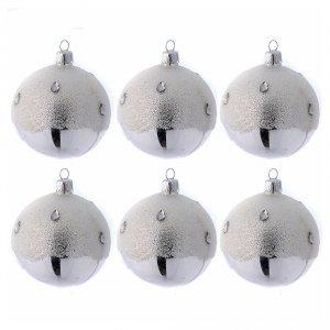 Palline di Natale: Palline Albero color argento effetto brina 80 mm 6 pezzi