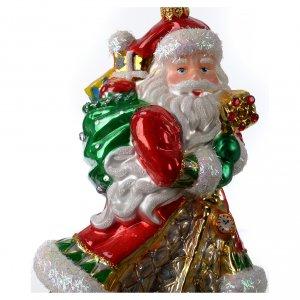 Adornos de vidrio soplado para Árbol de Navidad: Papá Noel con regalos adorno vidrio soplado para Árbol de Navidad