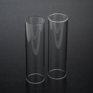 Velas, cirios, velones: Pareja de cilindros de vidrio diámetro de 3,5