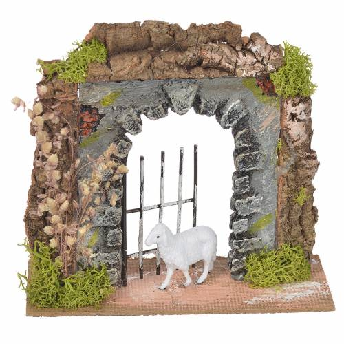 Paroi liège avec portail 14x15x6,5 cm s1