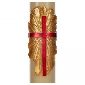 Paschal Candle, beeswax with cross on gold s2