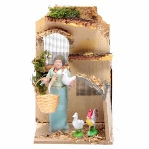 Pastor con gallinas 10cm movimiento Belén s1