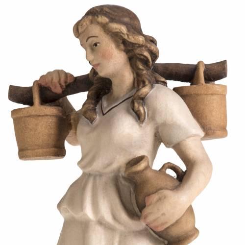 Pastora con jarras para Pesebre Raffaello 15 cm madera pintada s2