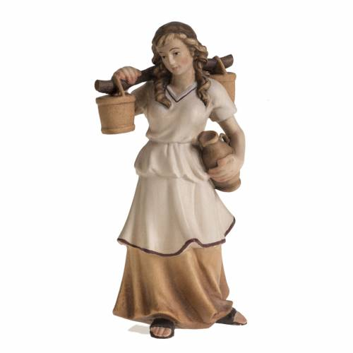 Pastora con jarras para Pesebre Raffaello 15 cm madera pintada s1