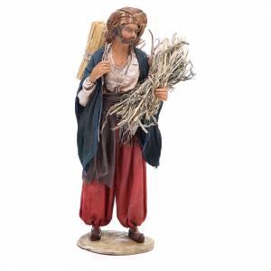 Pastore con paglia 18 cm presepe Angela Tripi s1